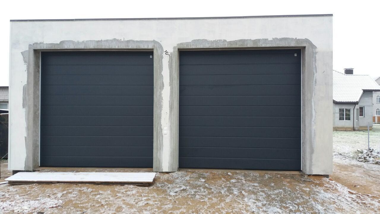 Ворота гаражные Алютех Антрацит RAL7016 гладкие