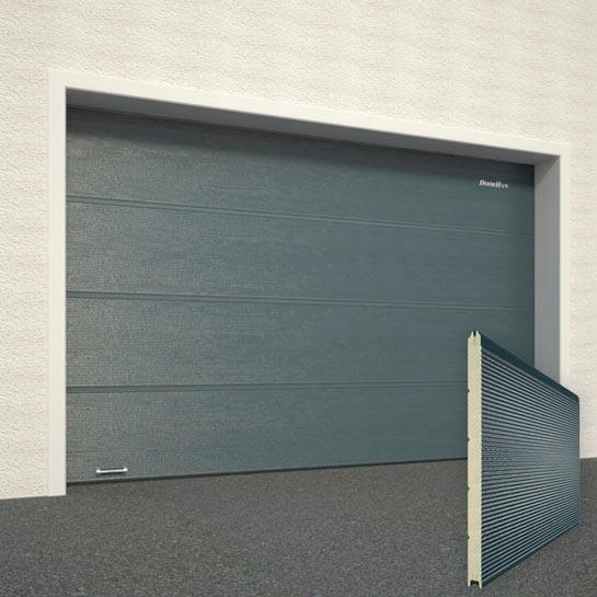 Ворота DoorHan Цвет Серый Антрацит (Серый Графит) RAL7016 рисунок панели Микроволна структура панели Под дерево