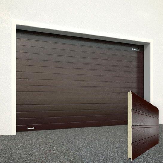 Ворота DoorHan RAL8017 красно-коричневый панель широкая полоса структура панели под дерево