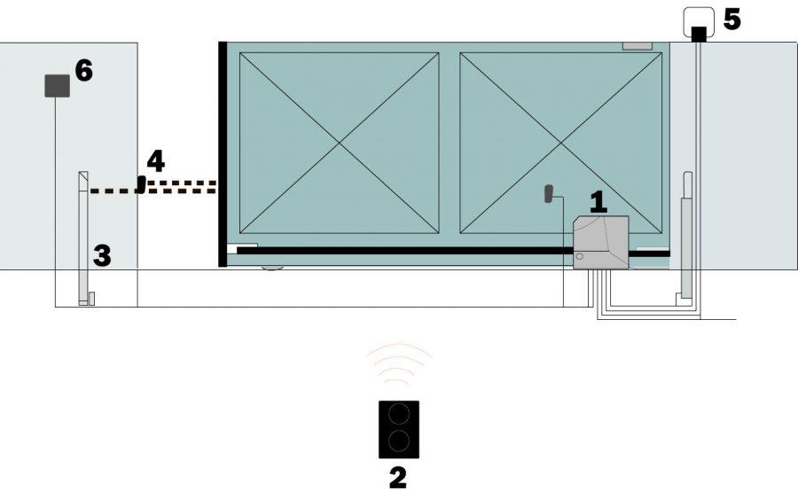 схема монтажа автоматики, фотоэлементов и сигнальной лампы, запись пультов к приводу NICE ROX600 ROX1000