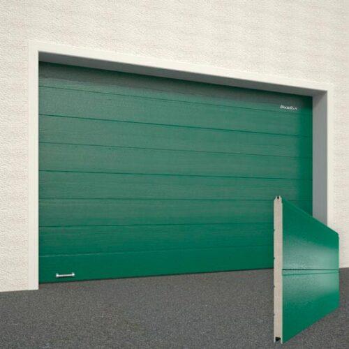 Ворота DoorHan RAL6005 зеленый структура под дерево панель широкая полоса