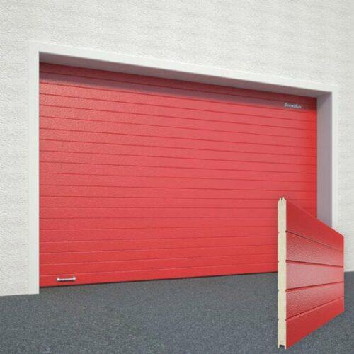Ворота DoorHan Цвет красный RAL3000 рисунок панели Горизонтальная полоса структура панели Под дерево