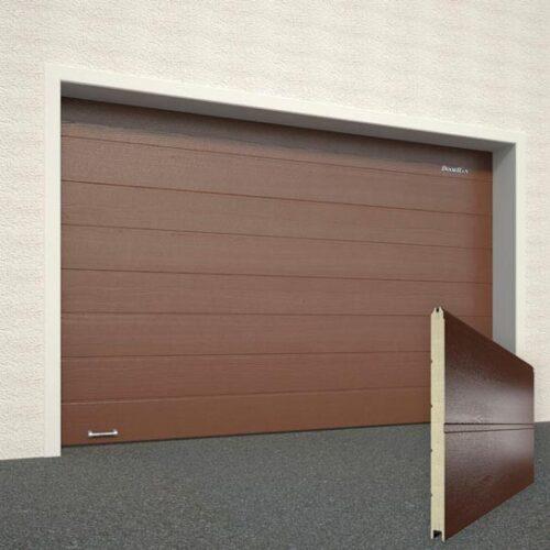 Ворота DoorHan RAL8014 коричневый широкая полоса под дерево