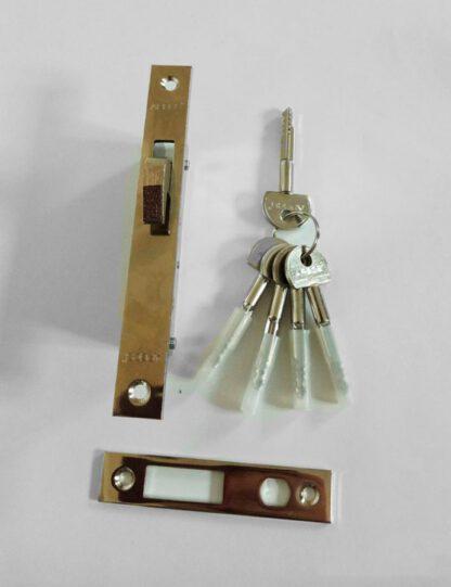 Замок врезной для откатных ворот и дверей с 5 ключами крестообразными с накладкой декоратичной и ответной планкой фирмы Apecs Basic 72-К